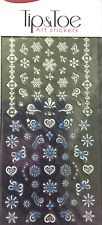 Kiss Pretty Hearts & Snowflakes Rhinestones Tip & Toe Nail Decal Art Stickers