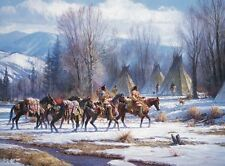"""""""Camp meat and Mules"""" Martin Grelle Limited Edition Fine Art Giclee Canvas"""