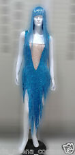 DaNeeNa M535Z Cher Vegas Burlesque Bugle Beaded Leotard Bodysuit with Wig XS-XL