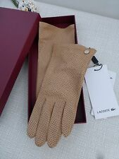 BNWT Lacoste Camel Sheep Leather Pin Dot Peforated Gloves size M/L