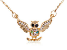 Charming Gold Tone Multi Color Rhinestone Encrusted Owl Pendant Chain Necklace