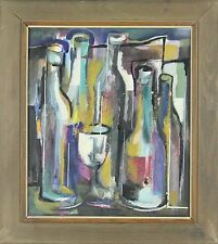 C1-012. BOTTLES AND GLASSES. ABSTRACT. MIXED TECHNIQUE. JOSE  NIEBLA. 70'S.