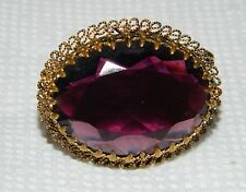 Vintage Victorian Style Brooch Pin  Amethyst Color Faceted, Civil War reenactor