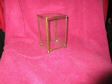VINTAGE SQUARE BRASS GLASS JEWELRY TRINKET BOX MINIATURE COLLECTABLES VANITY