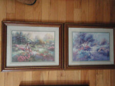 Home Interior by Lee K Parkinson set of 2 pictures a lady picking flower garden