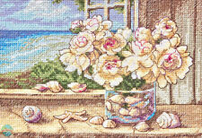 Cross Stitch Kit ~ Gold Collection By The Sea Floral Bouquet & Shells #70-65125