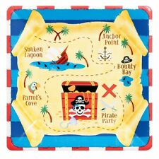 Childrens Pirate Party - PK of 8 Pirates Treasure Map Square Paper Plates 549877