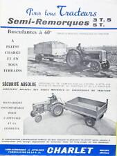 SEMI REMORQUE POUR TRACTEUR 3;5 T ET 5T CHARLET A OULLINS AGRICULTURE