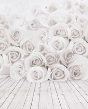 WHITE ROSE WOOD FLOOR BABY BACKDROP BACKGROUND VINYL PHOTO PROP 5X7FT 150x220CM