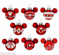 New Disney Parks Mickey Icon Red & White 8 Pc Mini Bulb Christmas Ornament Set