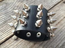 Metal Stud Spike Rivet Leather Bangle Cuff Bracelet Wristband Adjustable USA