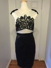 NWT JAX Black & White Lace Satin Cocktail Dress Sz 16