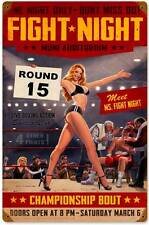 Fight Night Boxing Pin Up Girl Metal Sign Man Cave Garage Den Body Shop HB113