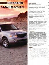 2003 Lincoln Navigator Dealer Product Information Guide Brochure like