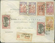 1934 Papeete Tahiti Registered Cover to Austria Red Wax Seals