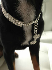 Luxury Diamond 3row dog/pet Bling jewellery/collar.Sm. Length 20cm+6cm extender