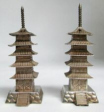 JAPANESE .950 STERLING SILVER PAGODA TOWER's SALT AND PEPPER SHAKER
