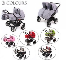 DOUBLE - TWIN PRAM WITH 2 PUSHCHAIR UNITS -  2 CARRY COTS AND ALL ACCESSORIES