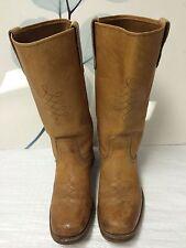 VTG Big Thunder Boots Mens Size 9 D Tan Natural Leather Biker Square Toe USA