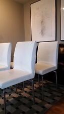 Poltrona Frau EOS Dining Side White Leather Chairs - Set of 4
