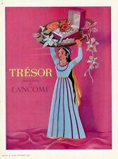 """""""LANCÔME : TRESOR"""" Annonce originale entoilée MAISON & JARDIN 1952  27x35cm"""
