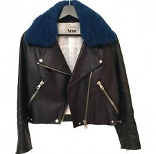 Acne Studios Black Leather Rita Jacket Sz 34 6 8 10 Detachable Blue Shearling