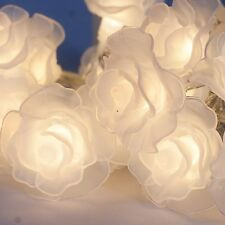Rose design fairy lights warm white x 12 led battery christmas display 1.1metre