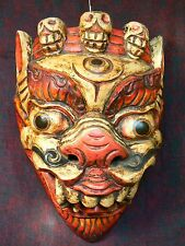 Nepal - old colored Mahakala wood mask / máscara antigua de madera Mahakala