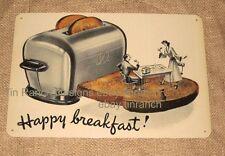 vintage HAPPY BREAKFAST TIN SIGN new 30s advertising Art Deco 40s retro toaster