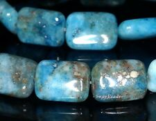 BLUE LAGOON PYRITE INCLUSIONS QUARTZ GEMSTONE RECTANGLE 14X10MM LOOSE BEADS 7.5""