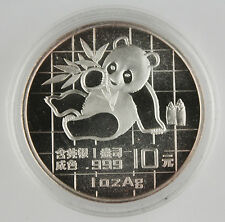 China 1989 1 Oz 999 Silver Panda 10 Yuan Coin GEM BU+ in Original Capsule