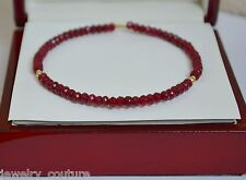 NATURAL Red RUBY Faceted  Bangle Bracelet 14K Yellow Gold Handcrafted
