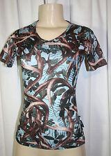 HIDDEN ANTLER Womens Sz 2 Blue Brown Deer Antlers Leaf Print Hunting Shirt Top