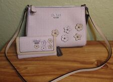 NEW GUESS BLUSH-SOCIETY Flowers Pink Tan Silver Crossbody Purse Bag & Wallet Set