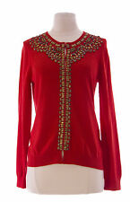 BODEN Women's Orange Red Solid Long Sleeve Adorned Cotton Cardigan US Size 8 NEW