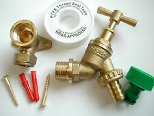 Outdoor / Outside Tap Kit | Garden Hose Fitting + Mounting Plate + Screws + PTFE
