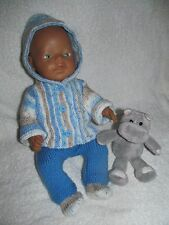 NEW! *27~Carol Ann Designs Baby Born Doll Knitting Pattern 3 Piece Hooded Set