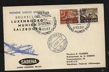 Luxembourg  Sabena  first flight cover  1957     KL0229