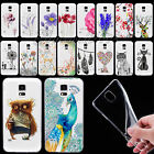 New Transparent Printed Soft TPU Back Skin Case Cover For Samsung Galaxy S4 S5 S