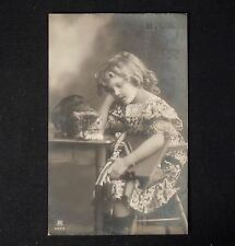 Antique Real Photo Postcard - Girl w/ Cat & Dog        44929