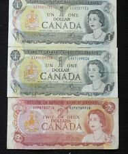 BANK OF CANADA (2) ONE DOLLAR NOTES & (1) TWO DOLLAR NOTE  (SEE PICTURES)
