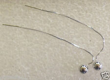 10 ct white gold  Long Dangle Pull Through Earrings Box Chain
