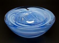 KOSTA BODA Atoll Large Heavy Glass Bowl Blue 7-Inches  ANNA EHRNER W/ Sticker