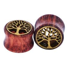 PAIR-WOOD & BRASS TREE OF LIFE EAR TUNNELS-FLESH TUNNELS-Ear Gauges 00g(10mm)