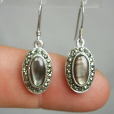 Sterling Silver 925 Vintage Estate Earrings Genuine Mother-Of-Pearl & Marcasite