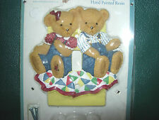 Excellent BLUE JEAN TEDDY BEAR hand painted single switchplate by Springmaid