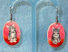 HAND PAINTED Natural SHELL UNIQUE CAT Earrings Grey Kittens on Red Izotov signed