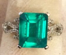 .14CT Genuine Diamonds & 5.10CT  Doublet Emerald  Ring 10k Solid   Gold
