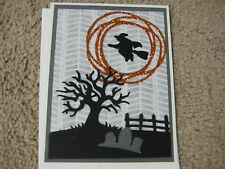 Stampin Up Handmade Greeting Card Halloween Witch flying in Moon