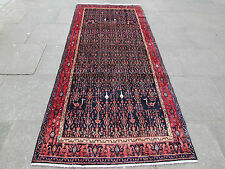 Old Traditional Persian Rug Wool Blue Oriental Rug Hand Made Long Rug 297x120cm